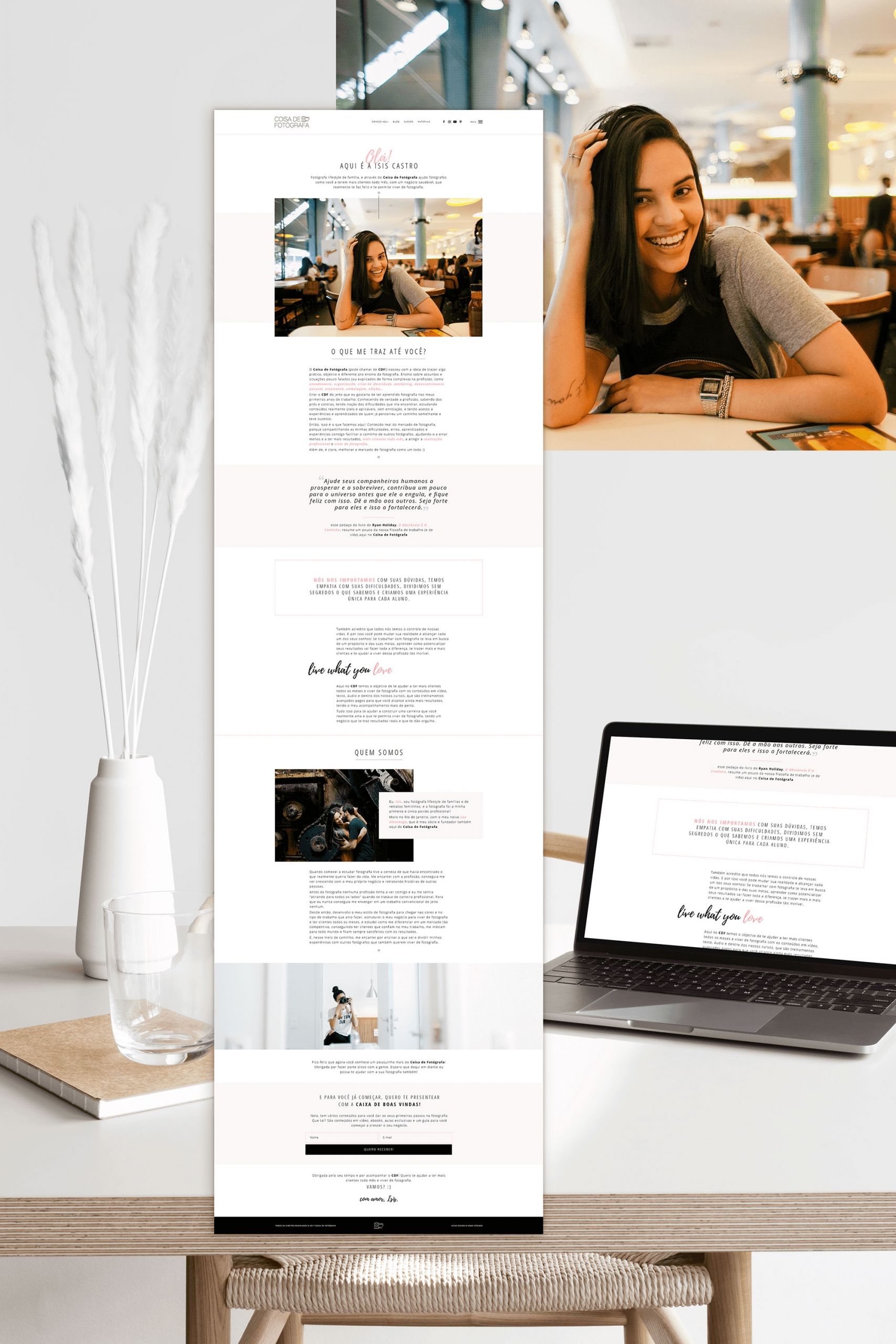 Identidade Visual & Website Layout exclusivos para Coisa de Fotógrafa da Isis Castro- Design by Adrielly Sato